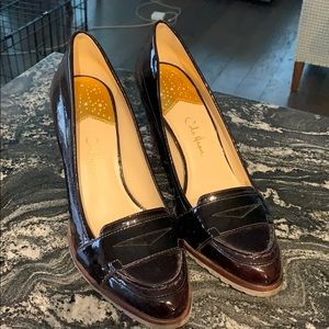Patent penny loafer pumps